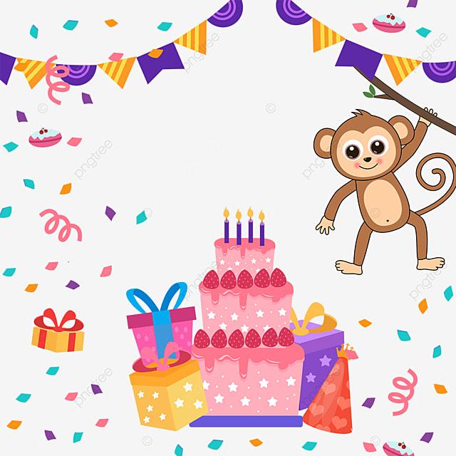 monkey birthday cake gift box bunting border