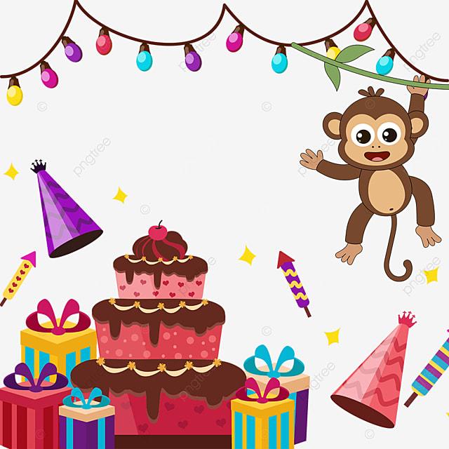 monkey birthday cake lantern gift box border