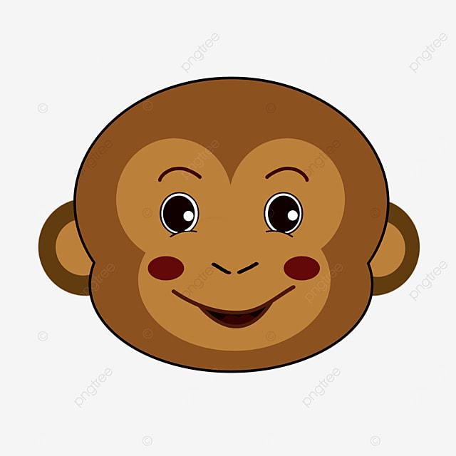 playful cute monkey face clipart