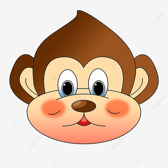 playful frontal monkey face clipart