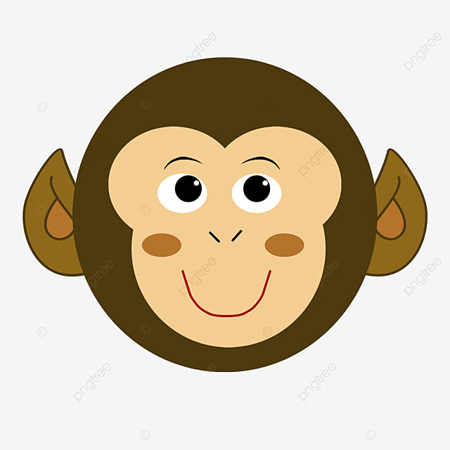 playful smiling monkey face clipart