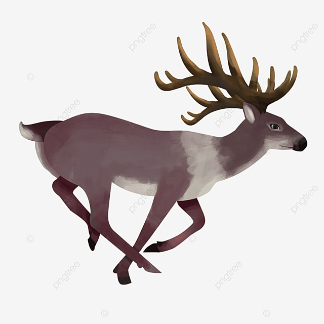 red brown a running elk clipart