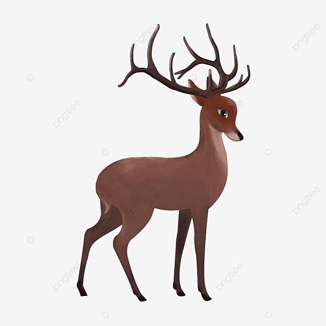 red brown side standing reindeer wild animal elk clipart