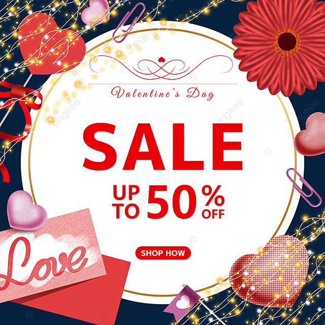 valentines day letterhead love flower bulb promotion label
