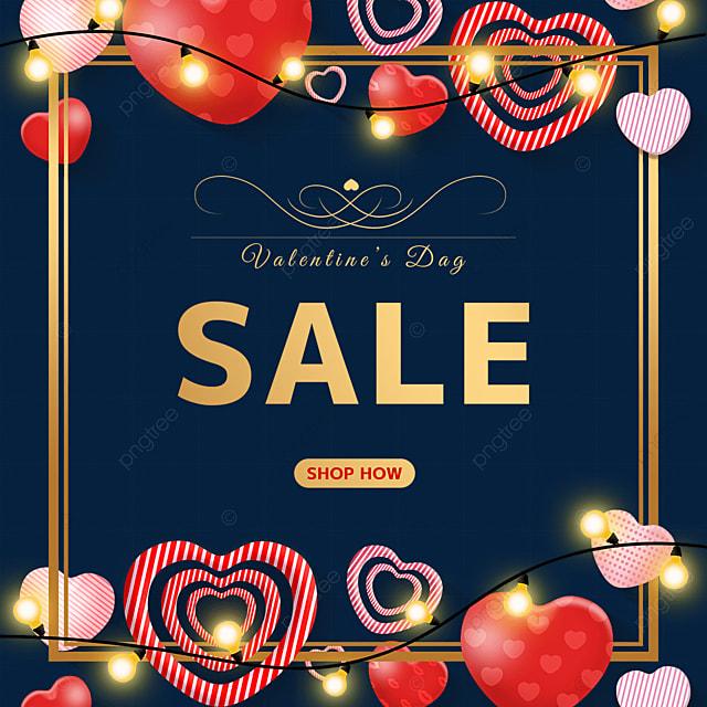 valentines day light love heart border promotion label
