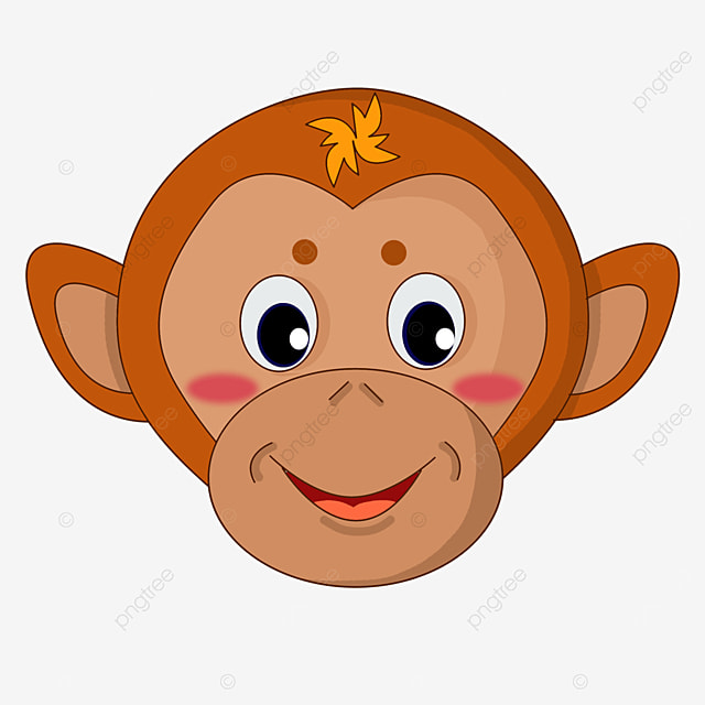 yellow smiling monkey face clipart