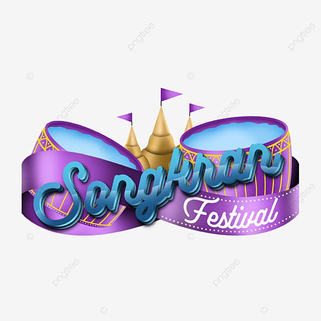 attractive label happy songkran festival greeting
