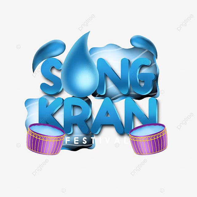 attractive label happy songkran thailand