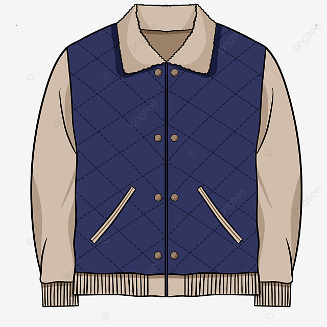 blue retro cotton jacket clipart