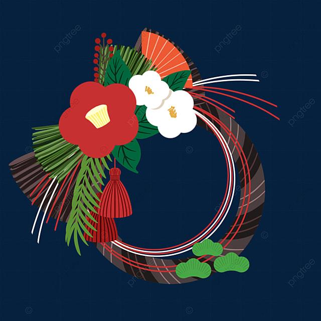 cartoon style japanese new year traditional decoration note shining