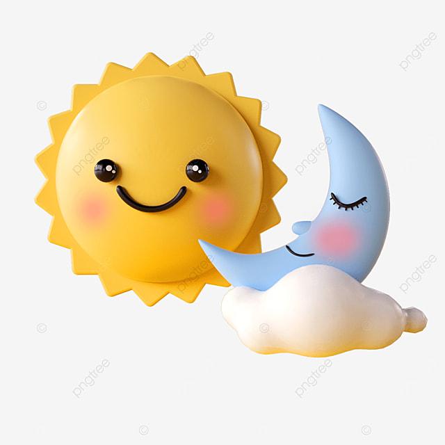 cartoon sun moon emoji