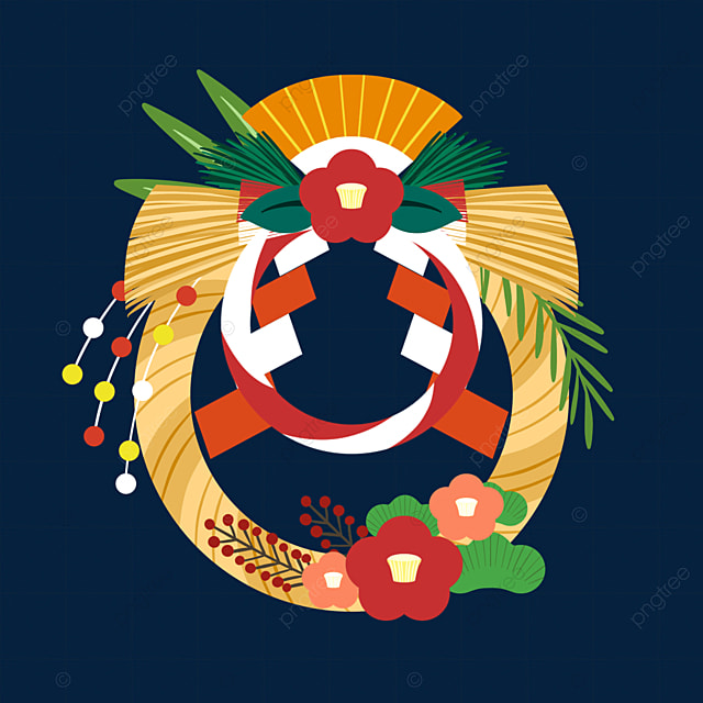 colorful japanese new year traditional festival decoration note renawa