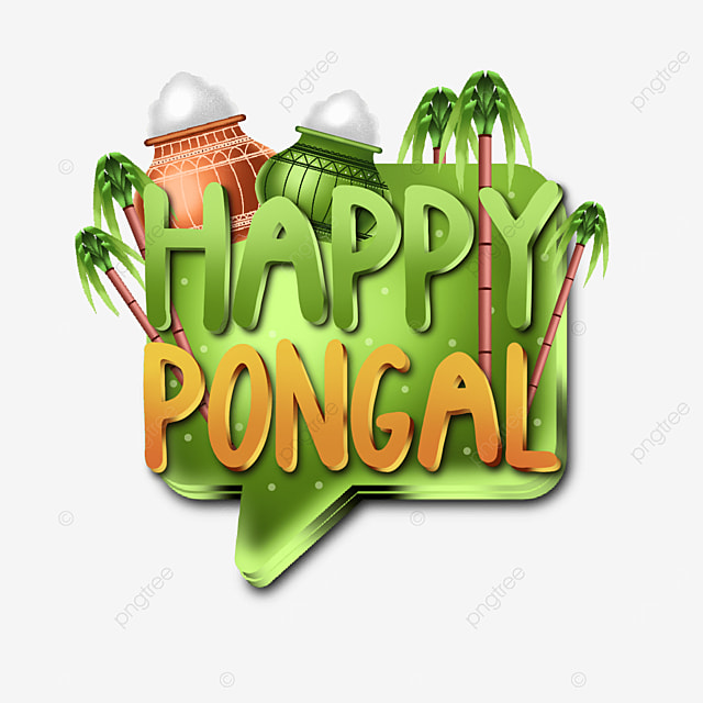 creative happy pongal text elements for design needs