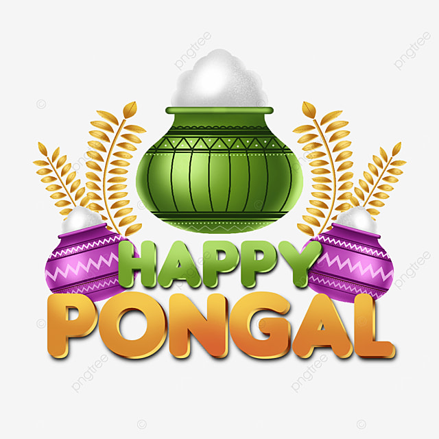creative text elements and happy pongal illustrations