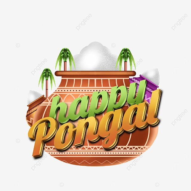 decoration assets illustrations and writing happy pongal