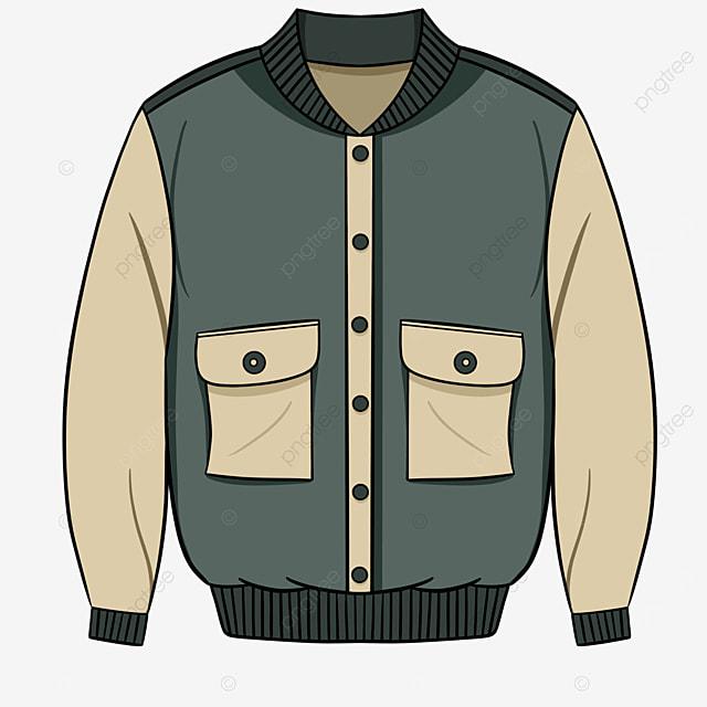 green vintage clothes jacket clipart