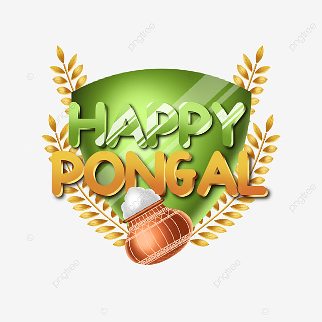 happy pongal decorative text element green and orange color