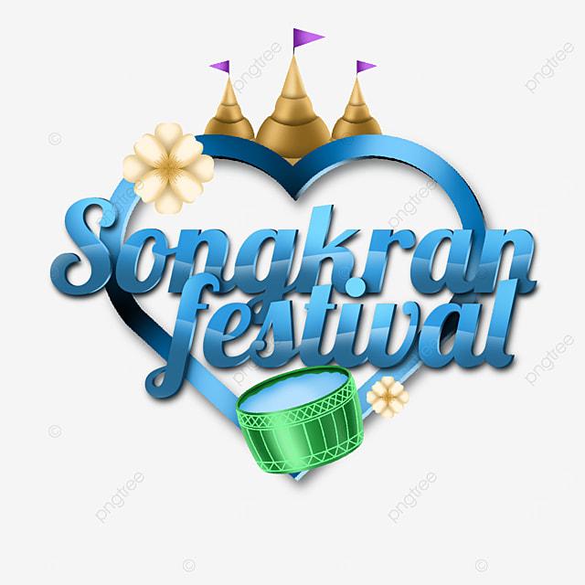 happy songkran festival label with heart frames