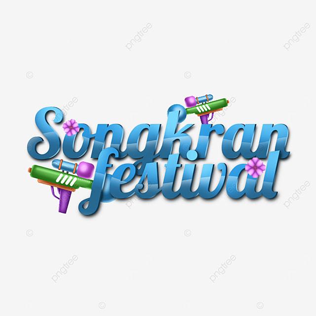 happy songkran festival text label in blue