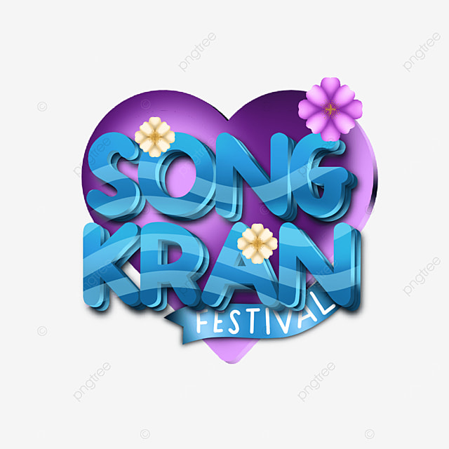 happy songkran festival text label with heart background