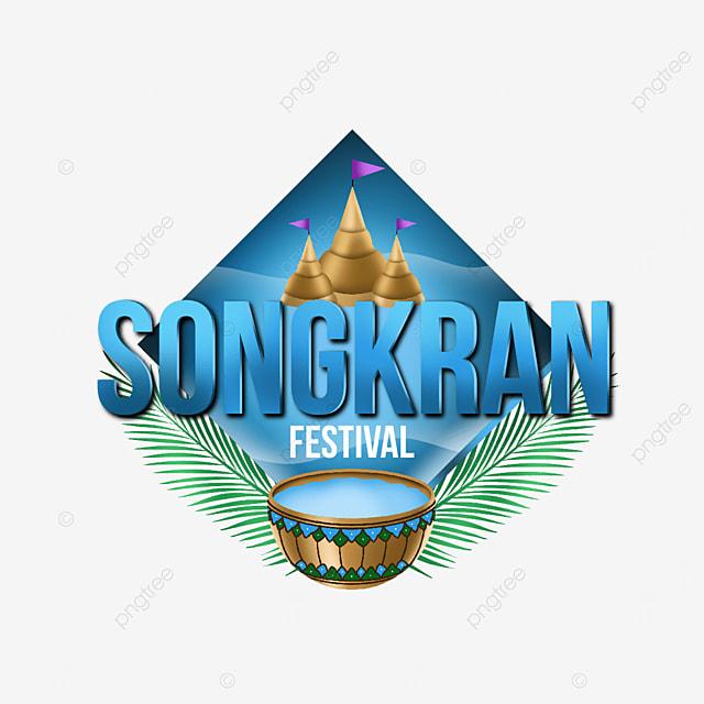 illustration premium label for songkran festival