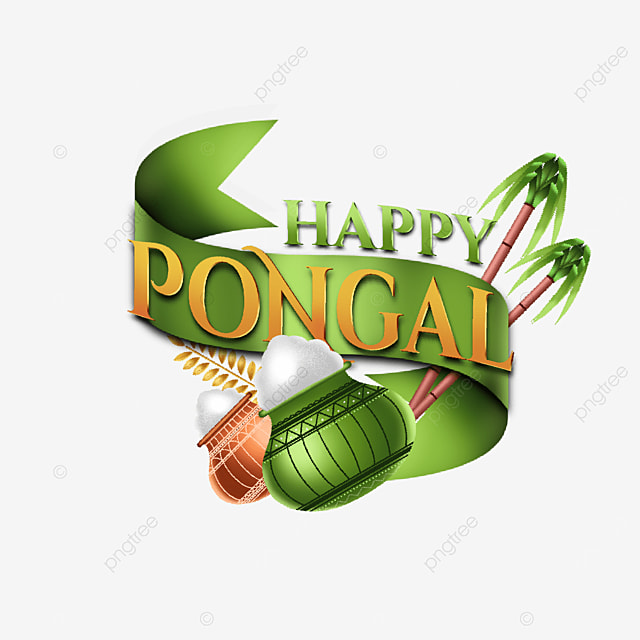 label design happy pongal with ribbon illustration