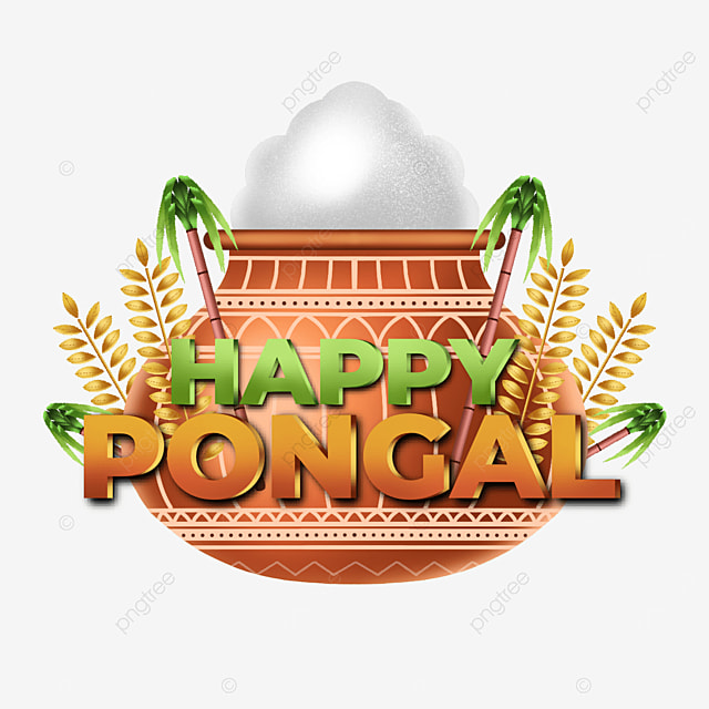 modern illustrative label happy pongal