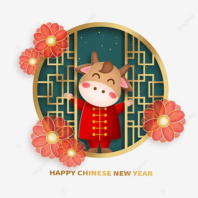 pane green year of the ox new year cartoon