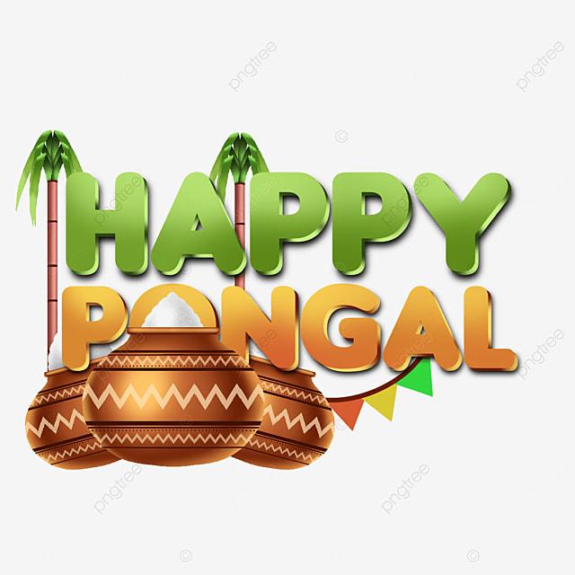simple modern happy pongal transparent label