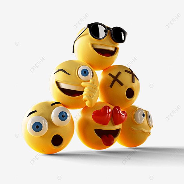 three dimensional emoji expression combination