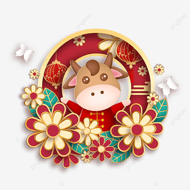 xin chou year flower and ox year