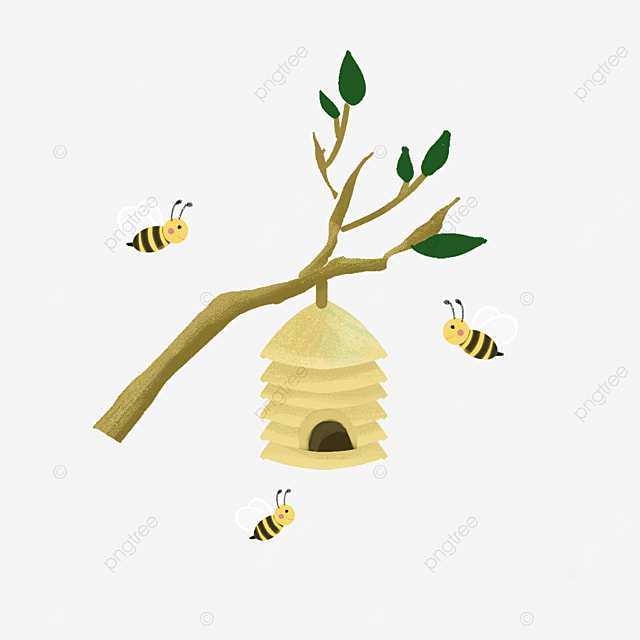 beehive clip art working bees