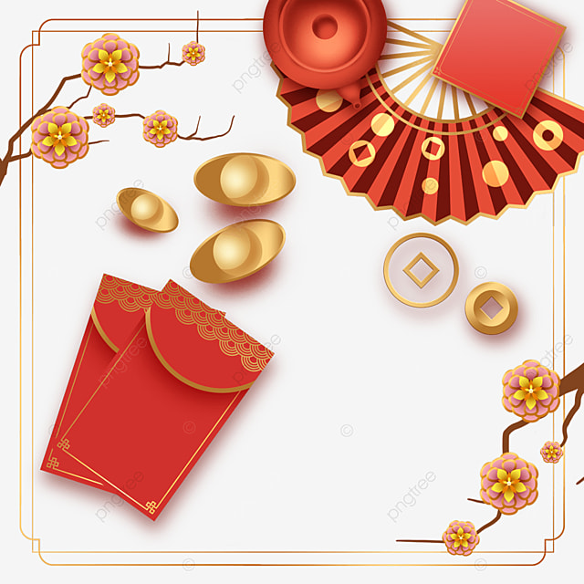 chinese new year spring festival fan border