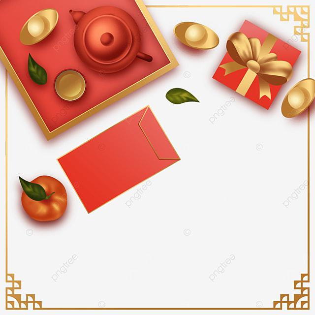chinese new year spring festival gift ingot border