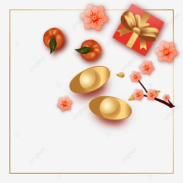 chinese new year spring festival golden ingot border