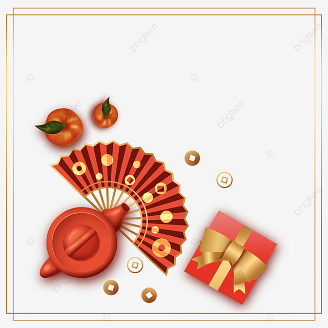 chinese new year spring festival red fan border