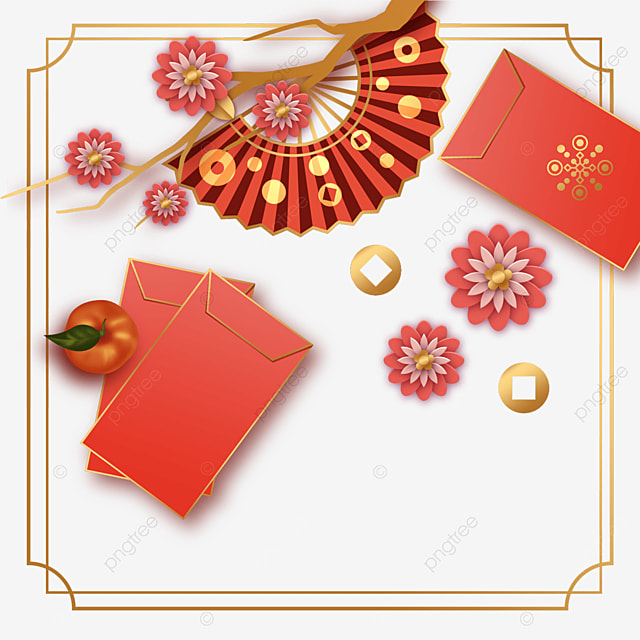 chinese new year spring festival red traditional border