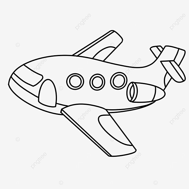 cute airplane clipart black and white