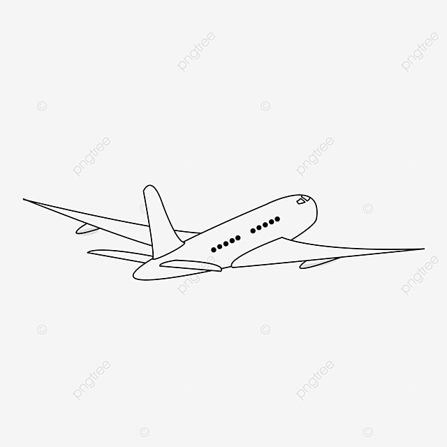 flying airplane clipart black and white