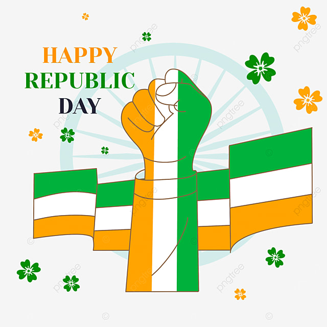 indian republic day banner color hand