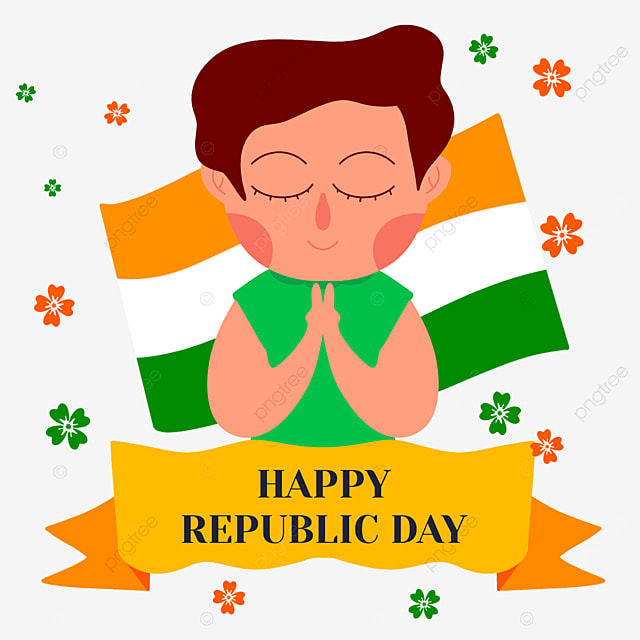 indian republic day characters pray