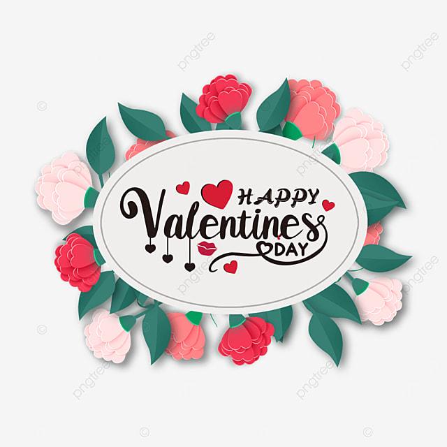 oval border floral valentines day label