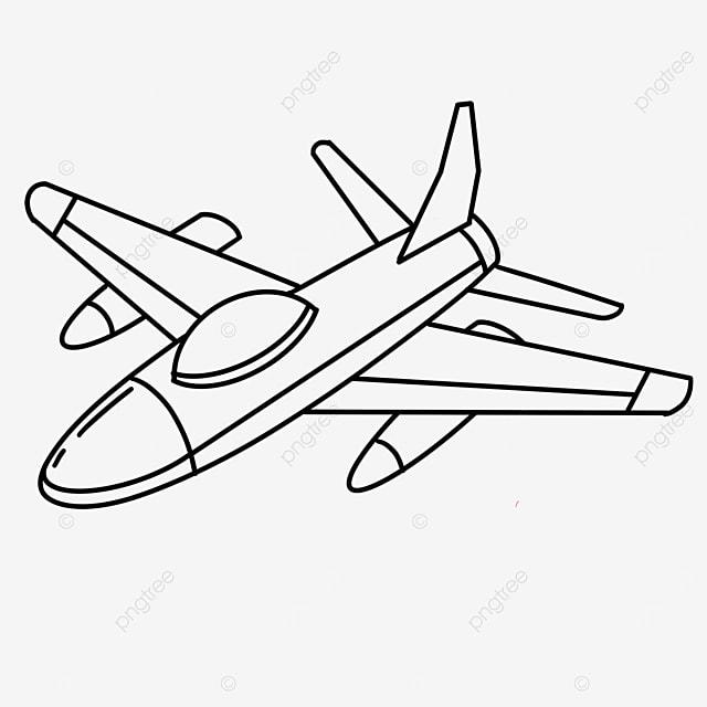 passenger airplane clipart black and white