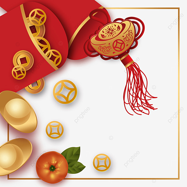 red chinese new year spring festival border