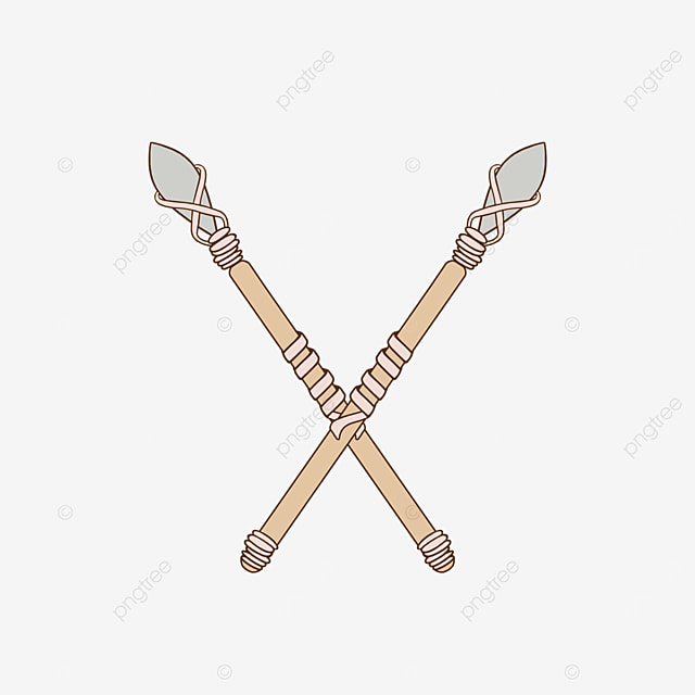 rhombus rounded light color with wooden spear clipart
