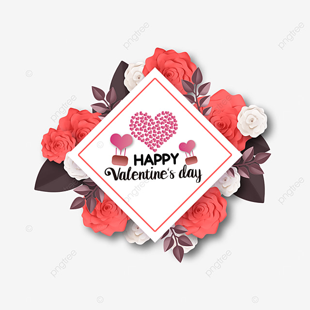 square rose flower valentines day label