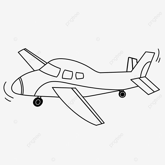 straight airplane clip art black and white