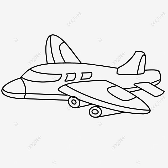 themed airplane clipart black and white