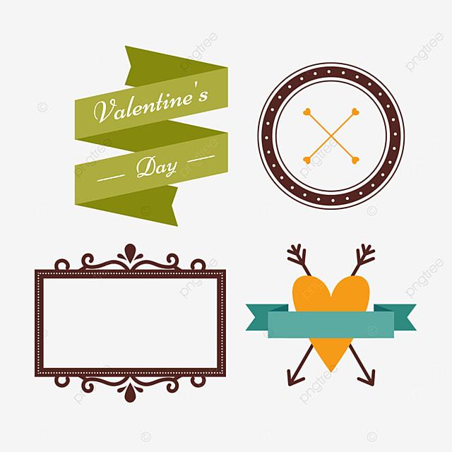 valentines day love orange arrow retro decorative border