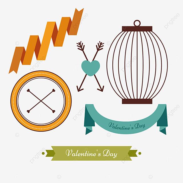 valentines day retro decorative lantern border